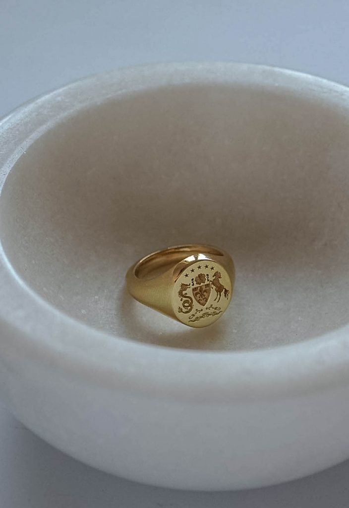 Coat of arms signet ring by Bianca Jones Jewellery
