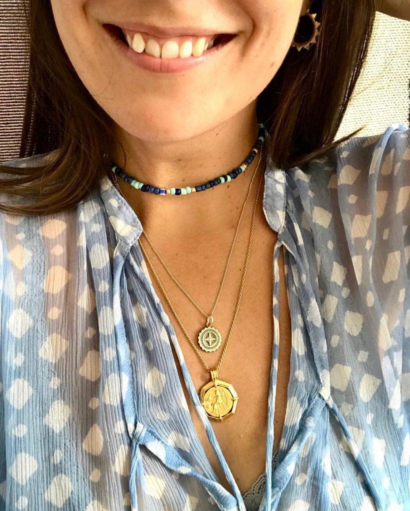 Katherine Ormerod wearing her Compass Necklace by Bianca Jones Jewellery