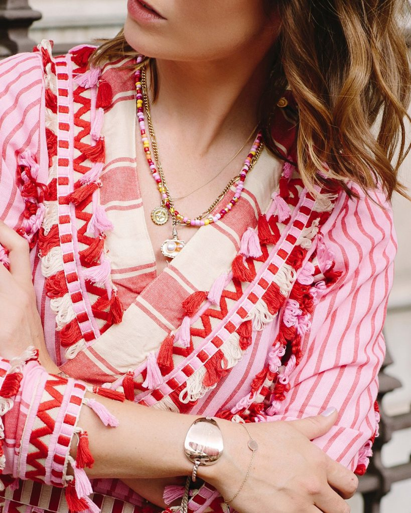 London Chatter wearing her Gold Vermeil Compass Necklace Bianca Jones Jewellery