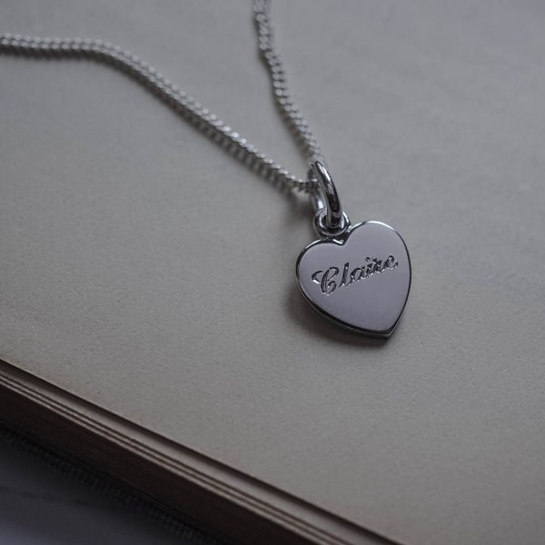 Love Heart Name Necklace in Sterling Silver