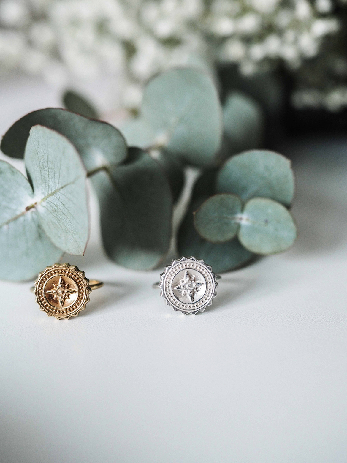 compass ring in sterling silver and gold vermeil