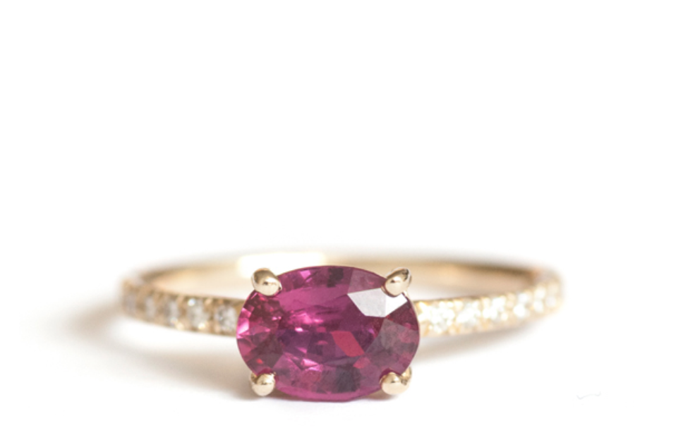 Mociun Ruby And Diamond Solitaire Ring