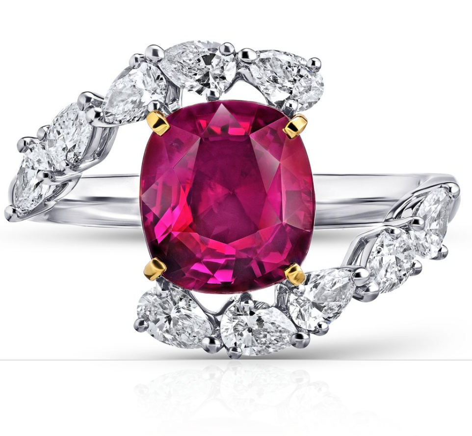 3.36 Carat Cushion Red Ruby and Diamond Ring, David Gross